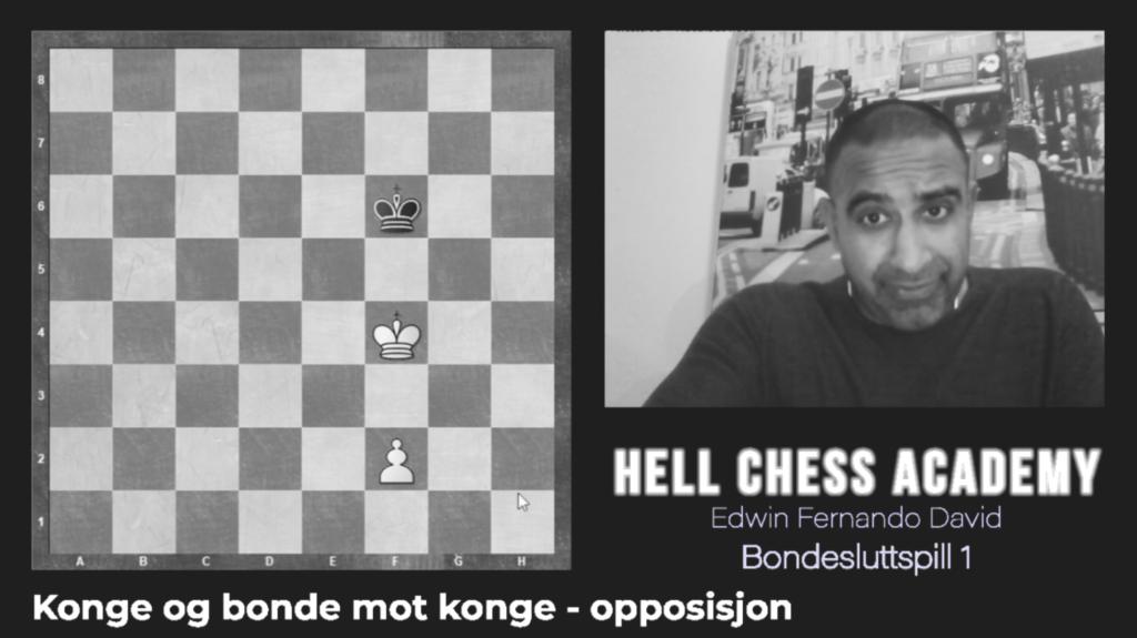Bondesluttspill med konge og bonde mot konge (opposisjon)